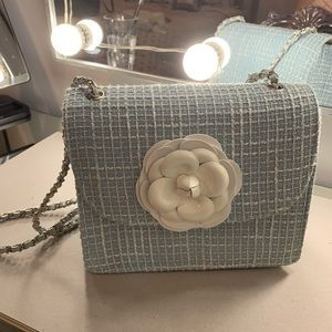 Handbags - Blue tweed Crossbody w White Camellia